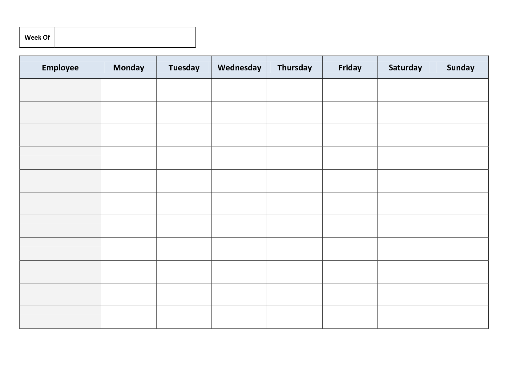 Weekly Employee Work Schedule Template Free Blank