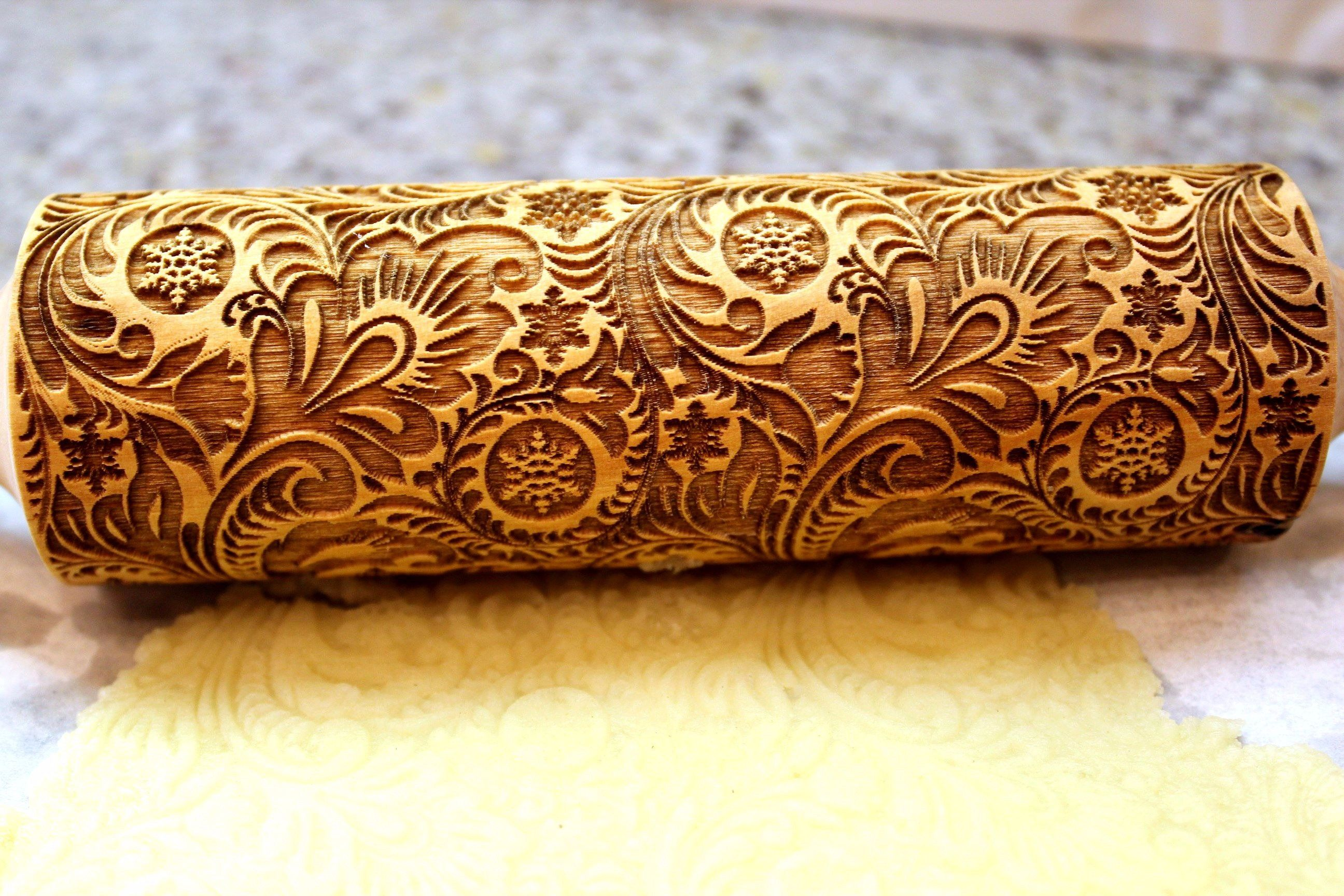 Frosty Flowers Embossing Rolling Pin Laser Engraved