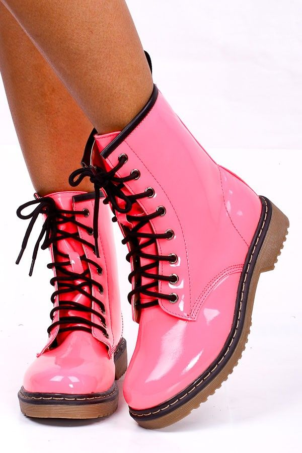 6860040f079 pink rhinestone cowgirl boots for women | PINK PATENT LEATHER COMBAT ...