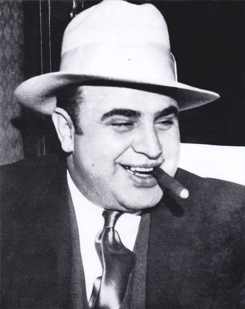 Chicago Mob Boss Al Capone in White Fedora. 8X10 glossy reprint ... 11ef16fd778