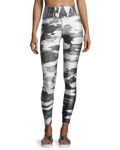 Tall Band Heathered Camo Performance Leggings, Gray