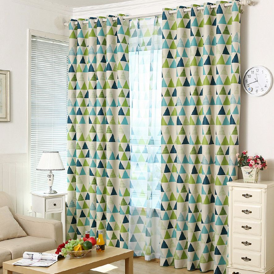 Modern Brief Blackout Green And Blue Geometric Curtains | Living