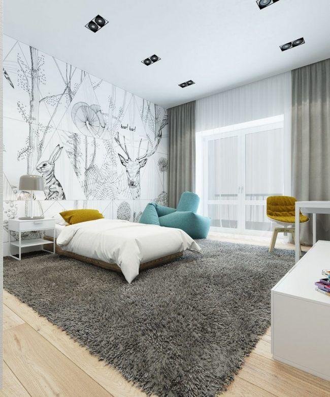 einrichten-naturtonen-wohnideen-kinderzimmer-tapete-waldtiere - fototapete für schlafzimmer