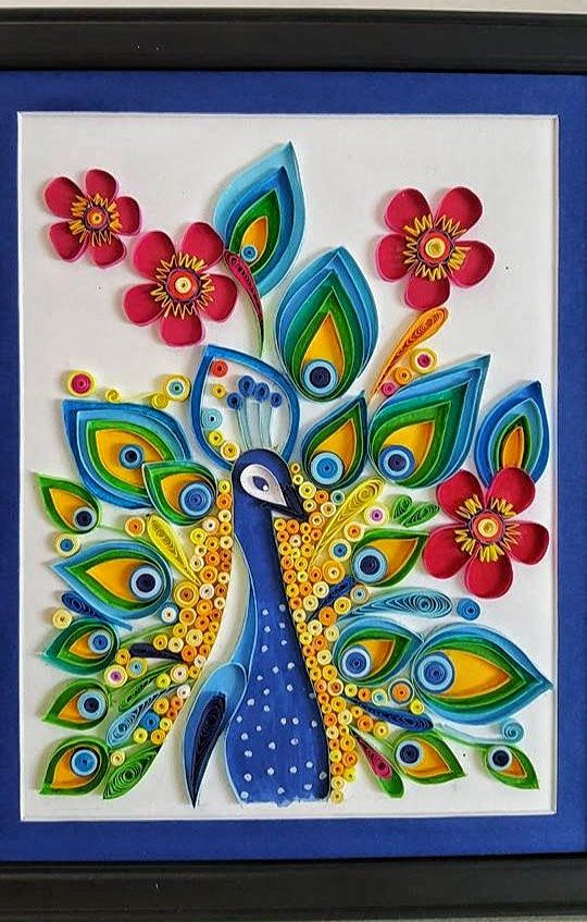 Paper Quilled Peacock bird wall ,home decor, art, painting