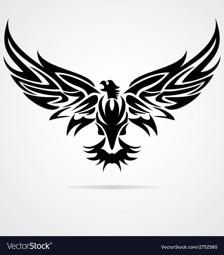 Eagle Bird Tribal Vector Image On Vectorstock Eagle Drawing Tribal Eagle Tattoo Eagle Vector