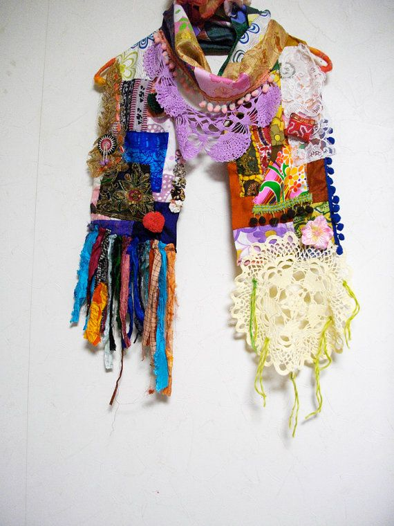 Patchwork Bohemian Gypsy Ethnic Silk Cotton Multi by ApricotCircus Echarpe,  Foulard, Bijou, Fringues dee45fa9d50