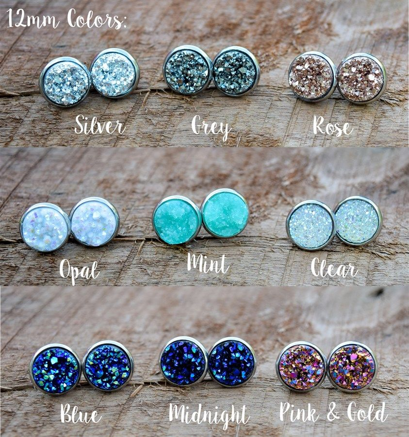 Hypoallergenic Stainless Druzy Earrings Accessories Jewelry