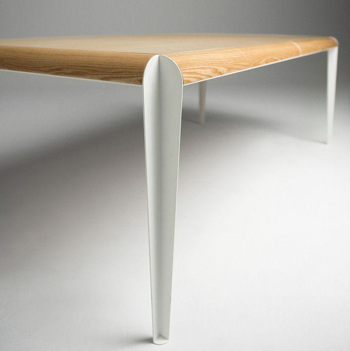 Teak Wood Dining Table White Powder Coated Legs White: Table, Modern Dining