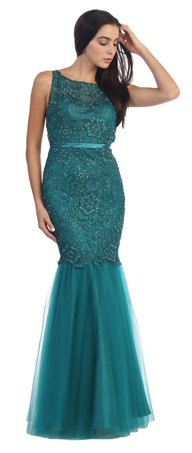 Lace bodice mermaid mesh skirt long formal prom dress products