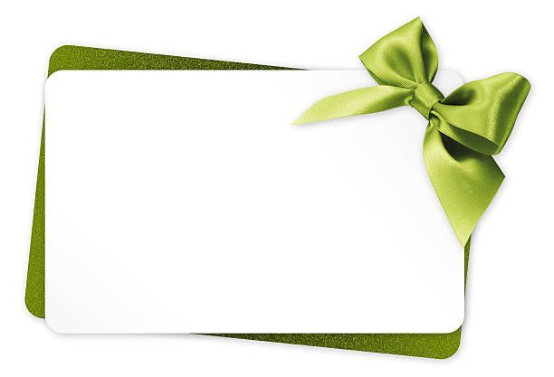 Gift Card With Green Ribbon Bow Isolated On White Background With