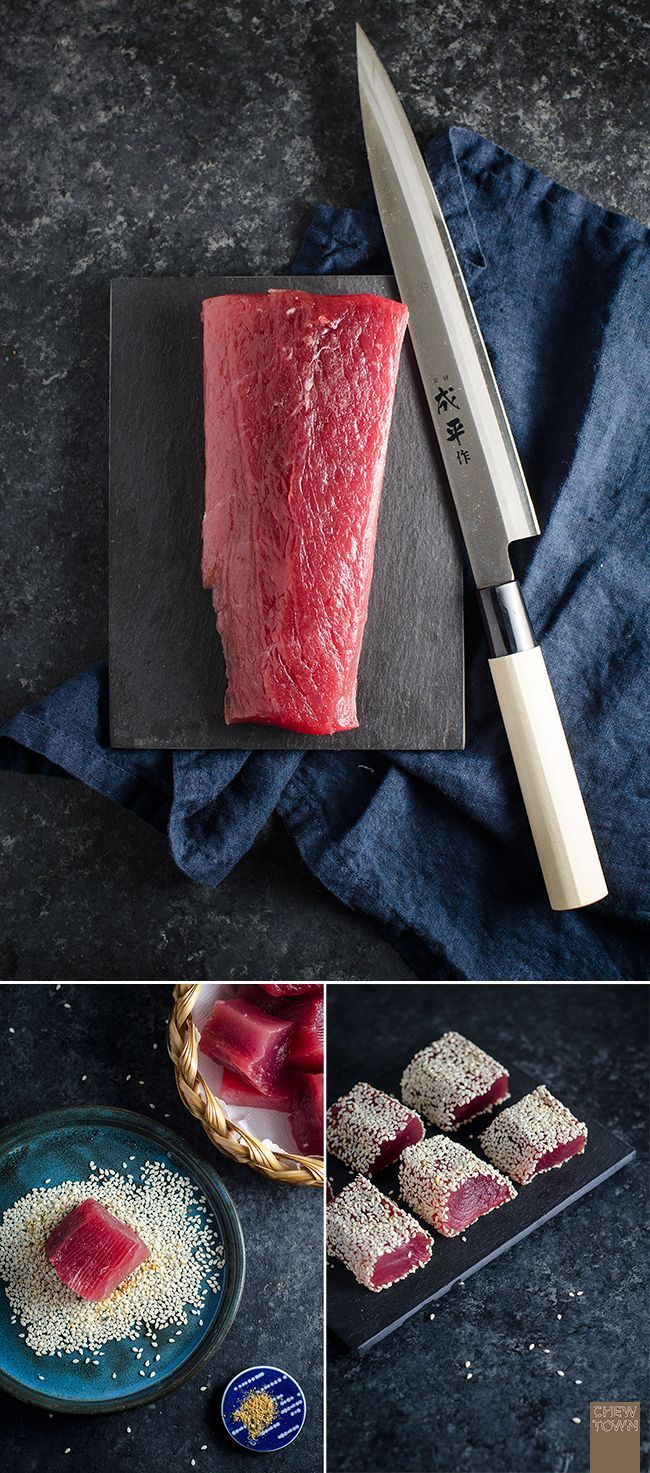 Gebratener Sesam-Thunfisch mit Gurke und Avocado Gebratener Sesam-Thunfisch mit Gurke und Avocado,