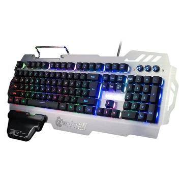 Teclado Gaming USB Com Fio 104 Teclas RGB Retro iluminação