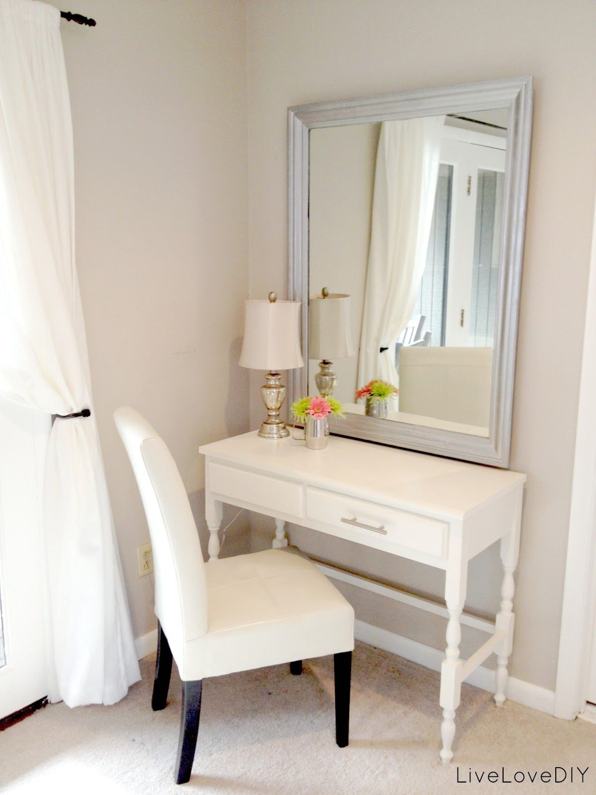 Thrift store desk turned bedroom vanity table seen here Small makeup vanity