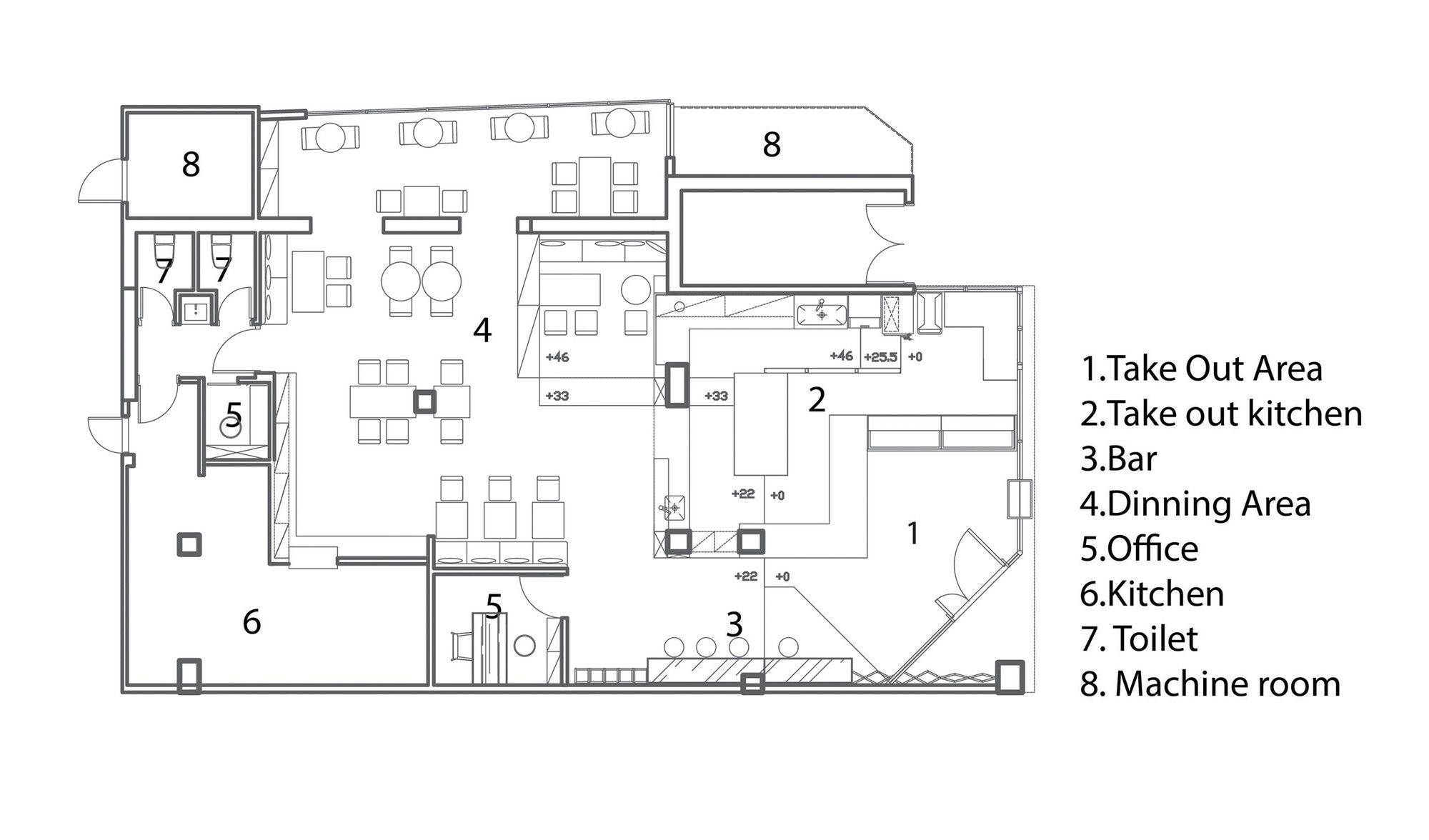 Les B B S Cafe & Bar,Floor Plan