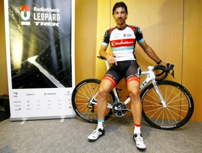 Fabian Cancellara sports the new, 2013 RadioShack Leopard kit at the team presentation.