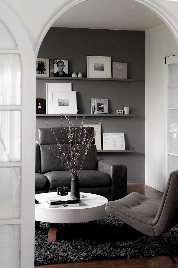 Dark Gray Living Room With Display Shelves Grey Walls Li