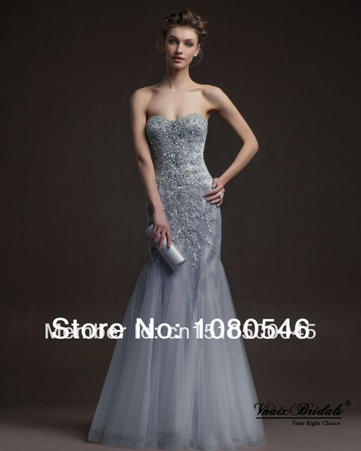 Silver organza beaded gown
