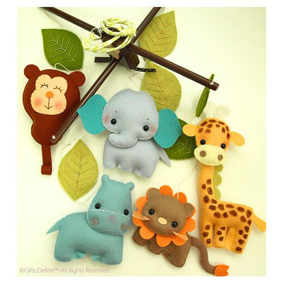 ZOO JUNGLE Quest, FREE Music Box, Musical Baby Mobile, Zoo, Forest, Safari Animals Theme, Baby Nursery Crib Mobile or Kids Playroom Decor #feltedwoolanimals