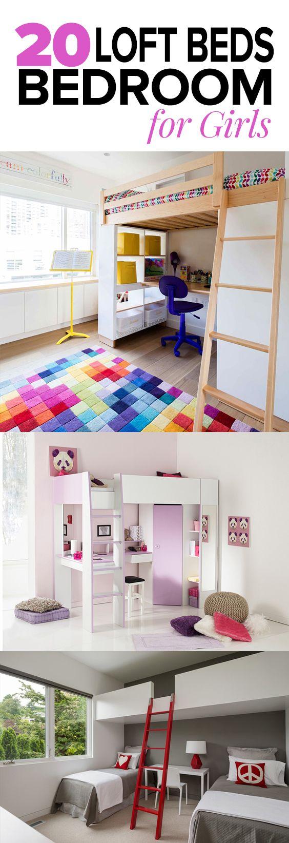 Loft Beds with Desk in 20 Chic Girls Bedroom Bunk beds