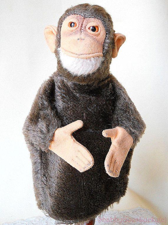 Steiff hand puppet monkey Jocko vintage 1965  by ShabbyGoesLucky