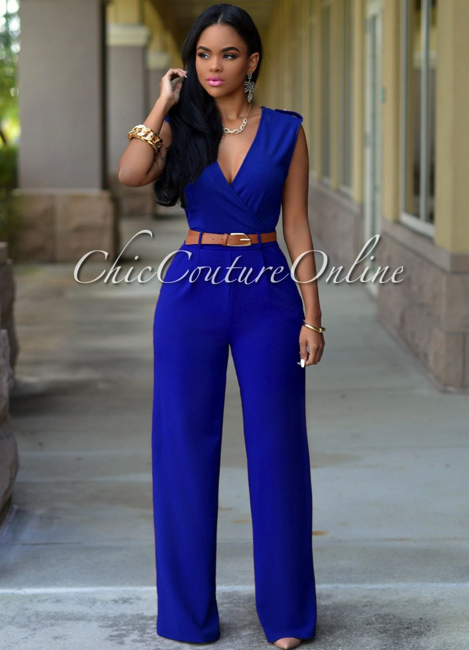 Chic Couture Online - Capri Royal-Blue Belted Jumpsuit, (http ...