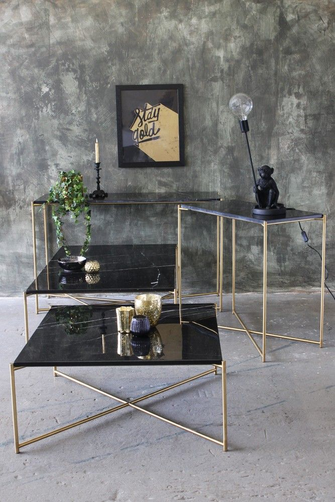Carrara Marble Console Table - Black Marble - Console Tables - Furniture : console table sets - Pezcame.Com