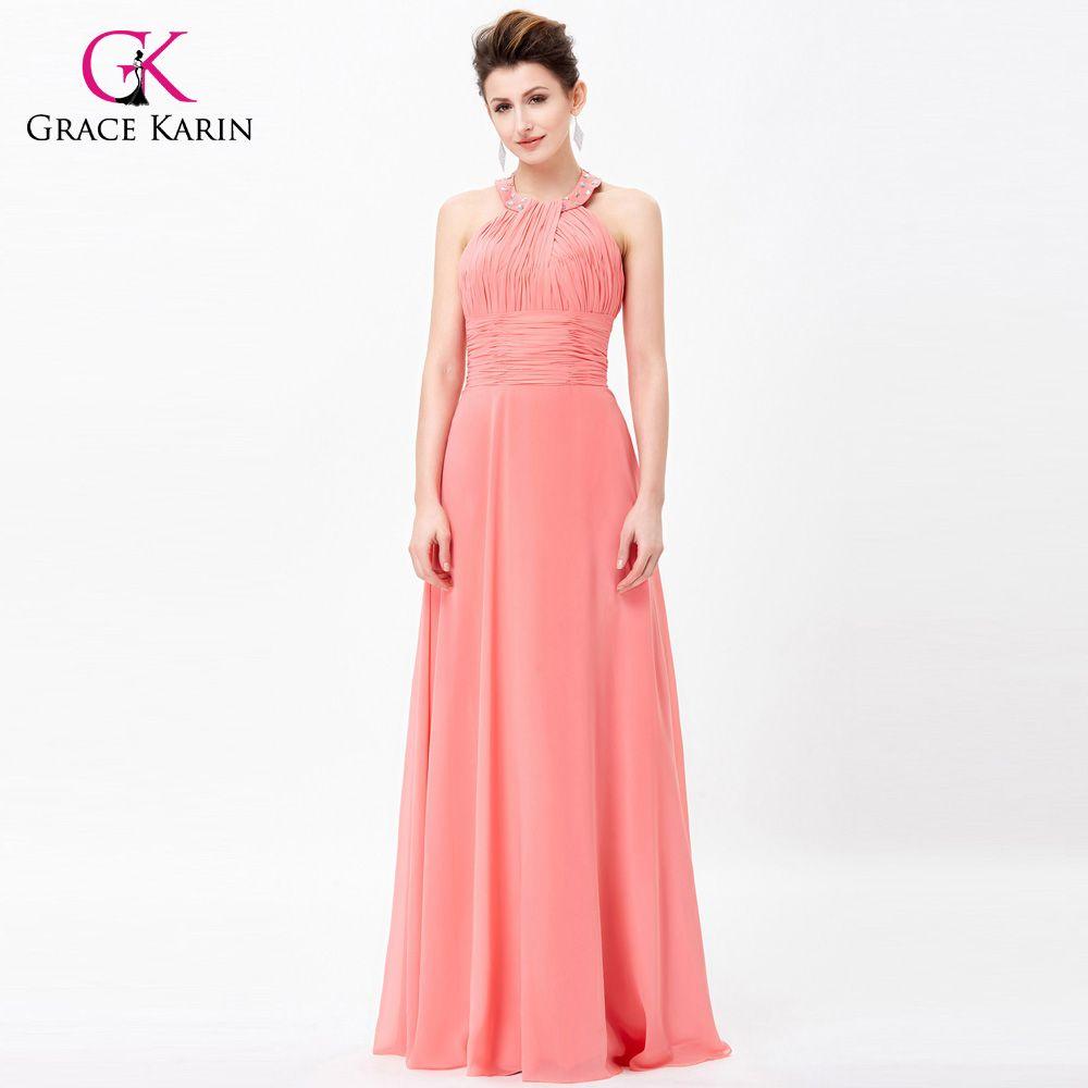 cb06b534428a Grace Karin Womens Evening Dresses 2017 Summer Halter Chiffon Open Back Formal  Gowns Long Wedding Evening