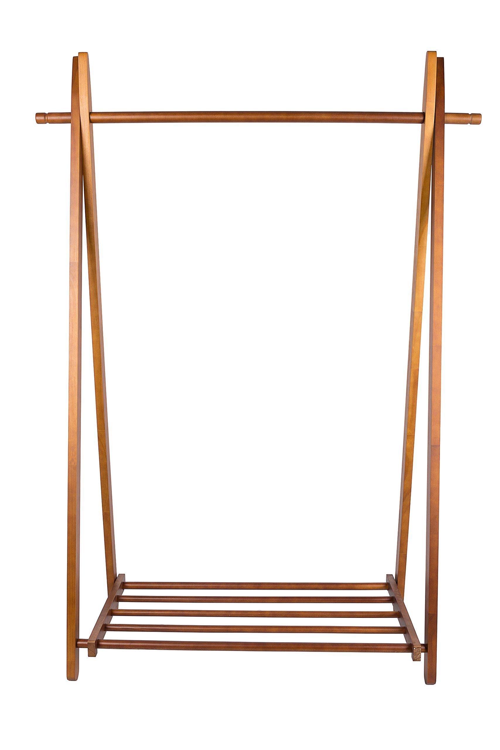 bamboo garment rack rail shelves hanging multifuctional storage pin laundry clothes free standing with coat homfa