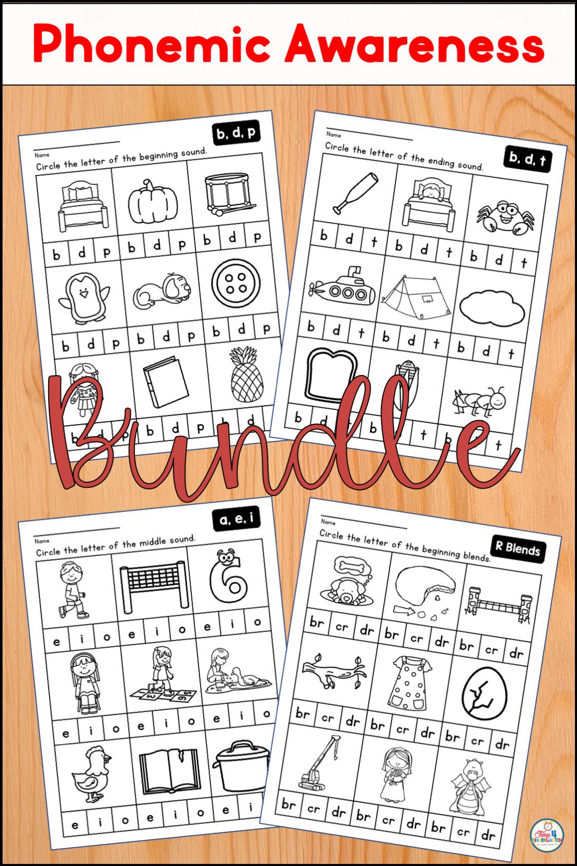 Phonemic Awareness Bundle For Kindergarten And First Grade