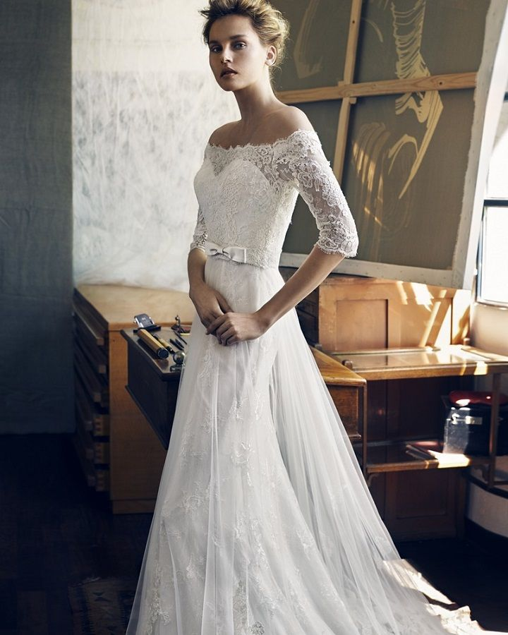 Lusan Mandongus graceful off-the-shoulder wedding dress