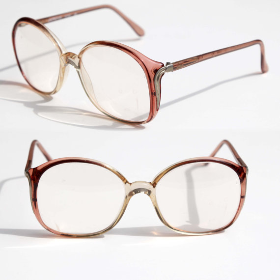 c93fa1eec40 Vintage 80s Luxottica Womens Eye Glasses Over Sized Arm Rx RENEE Frame  ITALY ROSE Bugeye Glasses