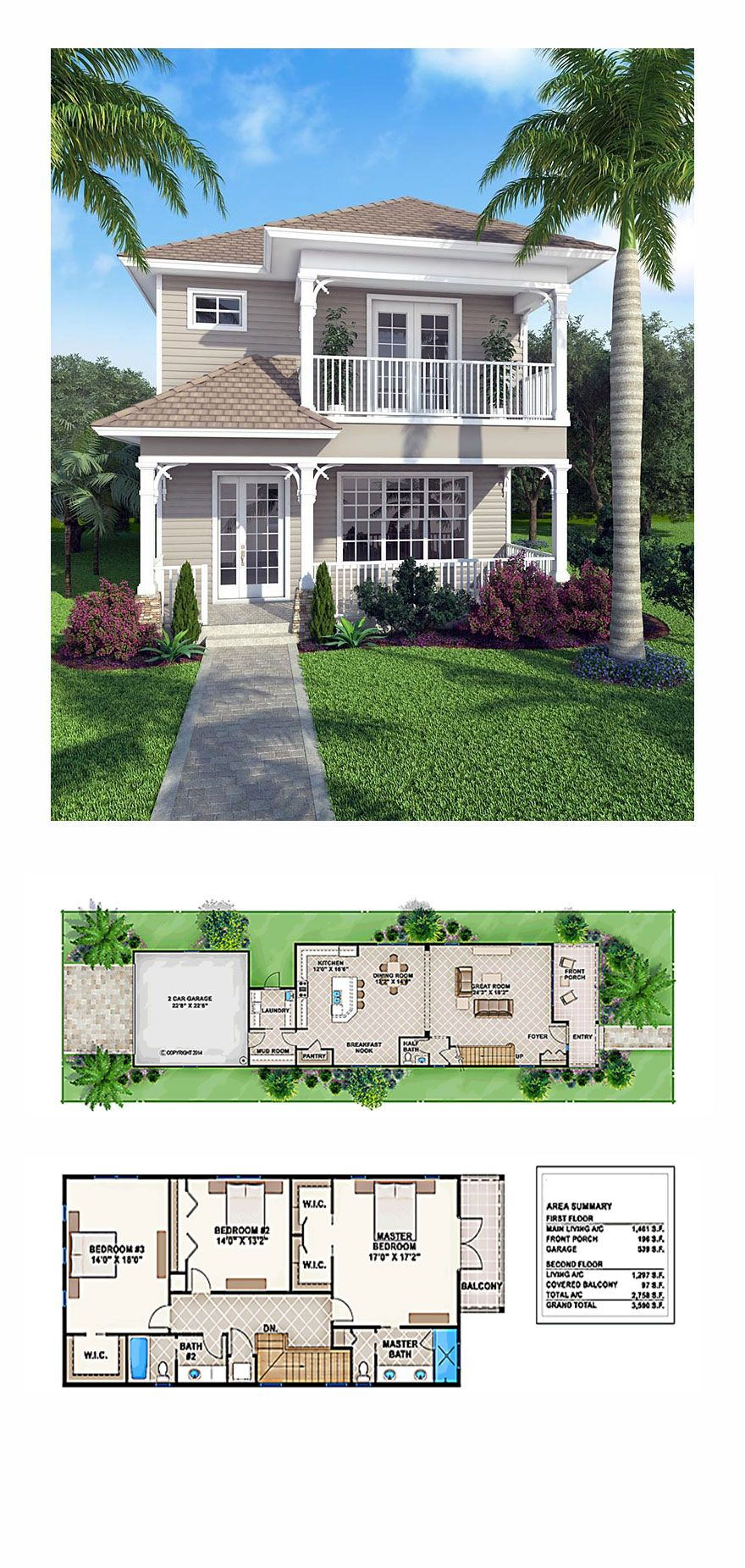 New house plan 52908 total living area 2758 sq ft 3 bedrooms and 2 5 bathrooms houseplan