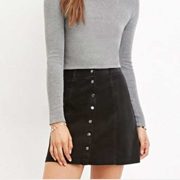 f0f113996f Forever 21 Corduroy Button Down Skirt worn once, black cord skirt with  buttons down Brandy Melville Skirts Circle & Skater