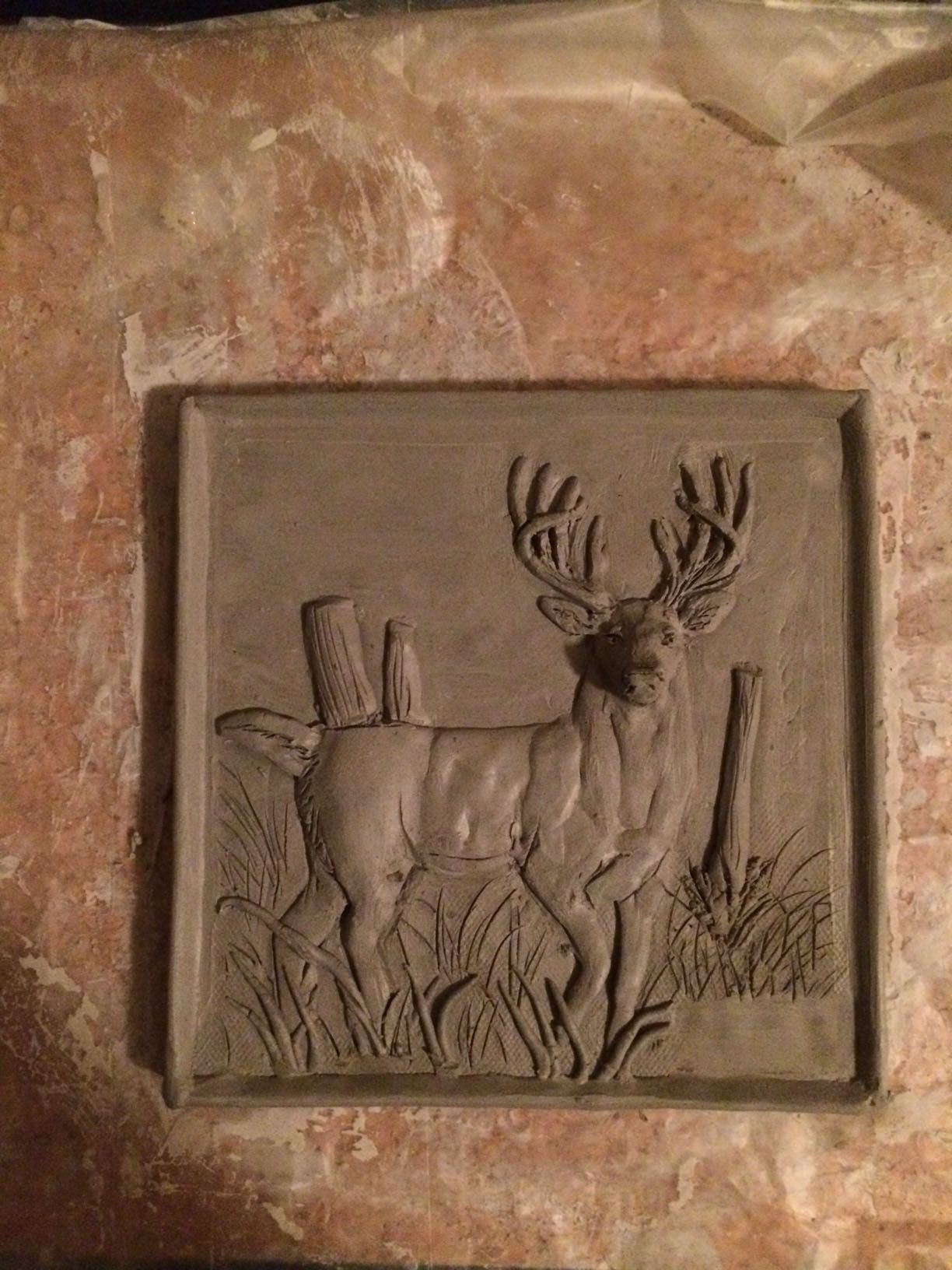 Finishing up the whitetail deer tile sculpted clay tiles finishing up the whitetail deer tile doublecrazyfo Images