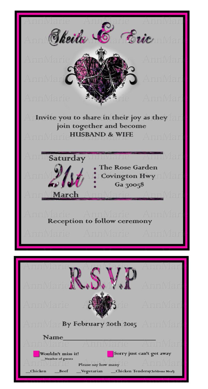 Muddy Girl Camo Wedding Invitation with reply card, Pink camo ...