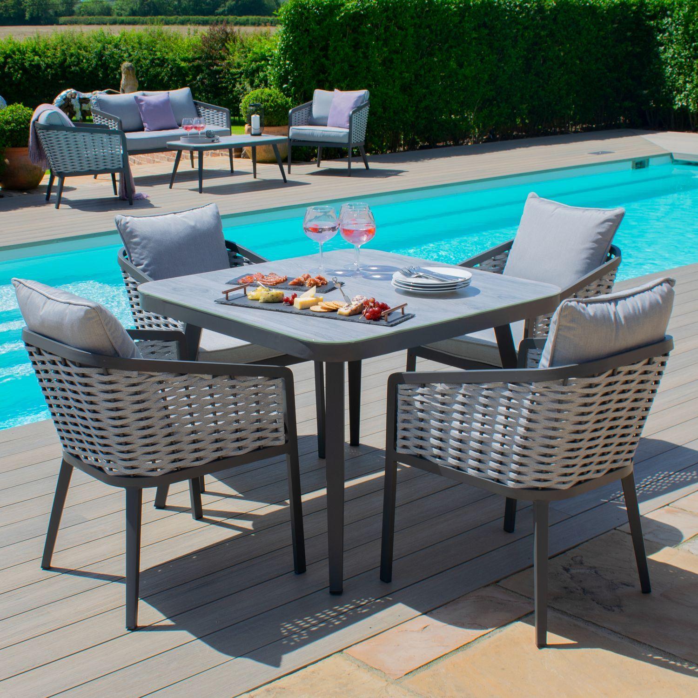 Maze Rattan Garden Furniture Portofino 4 Seat Square Dining Set In