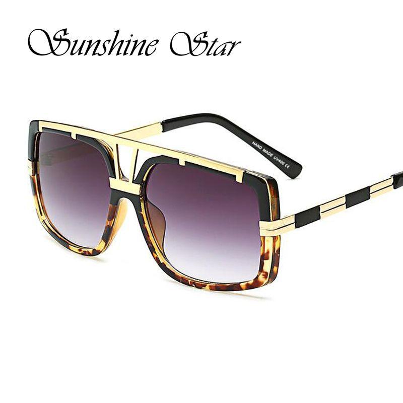 1bfff3153d5 Pop Age Vintage Oversized Square Women Sunglasses Men Hollow Metal frame  Reflective Sunglasses Retro Sun glasses