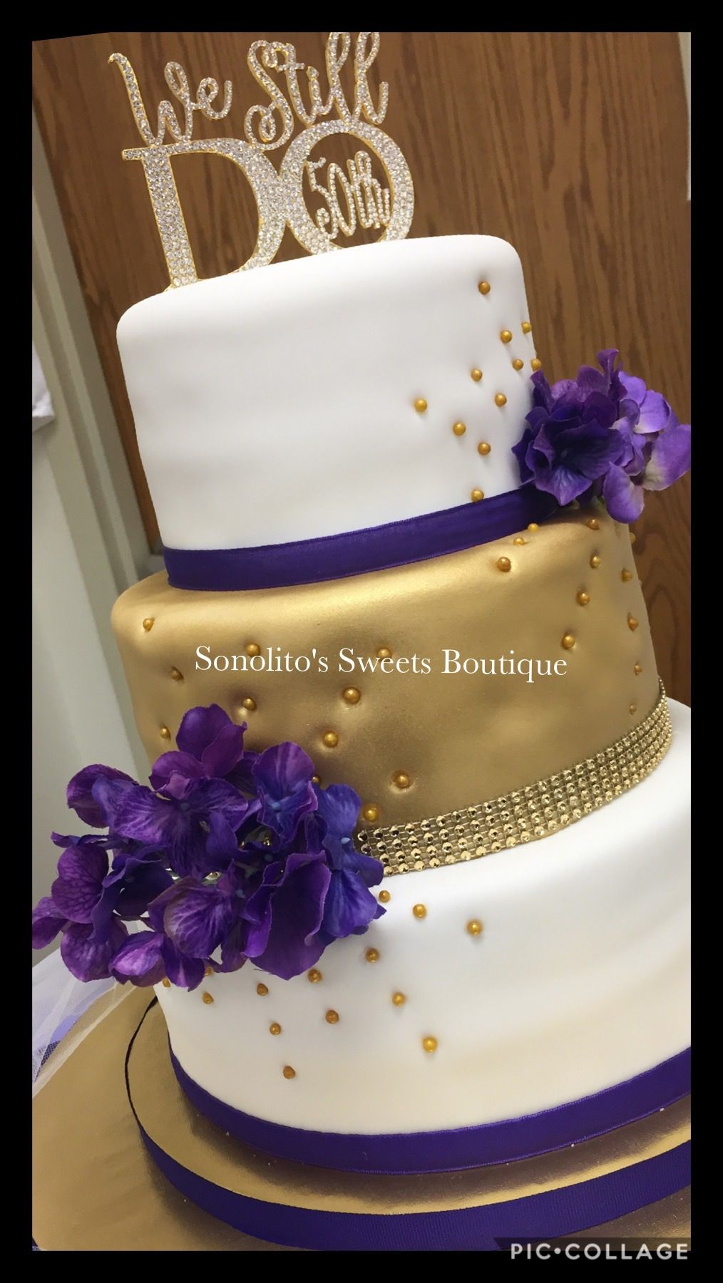 Purple And Gold Wedding Cake 50th Anniversary Cake Gold And