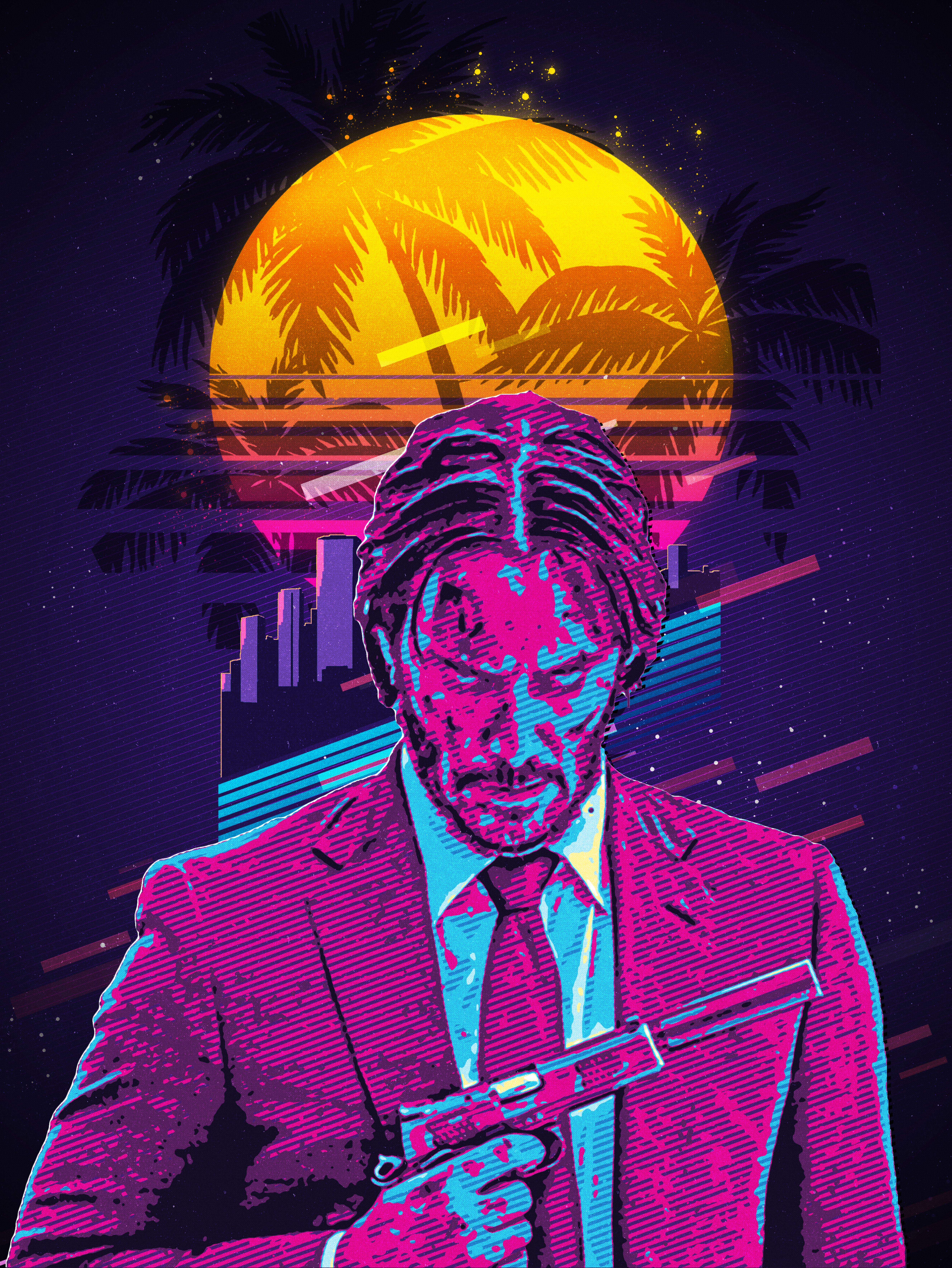 John Wick Retro Retro Art Keanu Reeves John Wick Poster Art