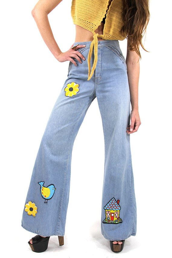 29831008de5 60s Vintage Jeans Bell Bottoms Hippie Palazzo by TatiTatiVintage, $98.00