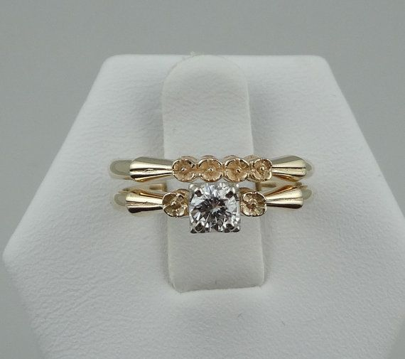 Simple 14k Yellow Gold Rose Pattern Wedding Set With A 23 Carat