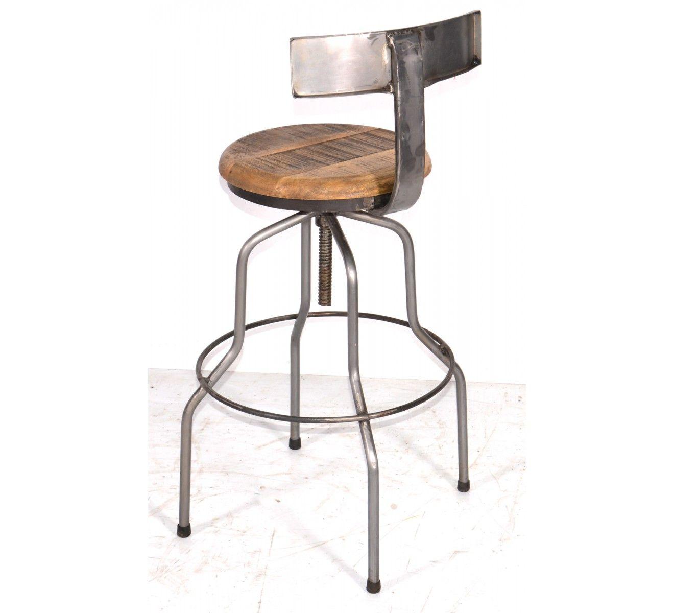 Tabouret De Bar M Tal Et Bois Industriel R Glable Atelier Grey