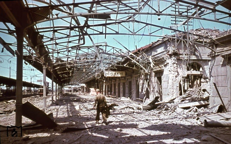 World War II in Color - The ruins of Verona Porta Nuova railway  station - northern Italy August 1944 - the picture was taken in August 1944 by photographer Walter Hollagen