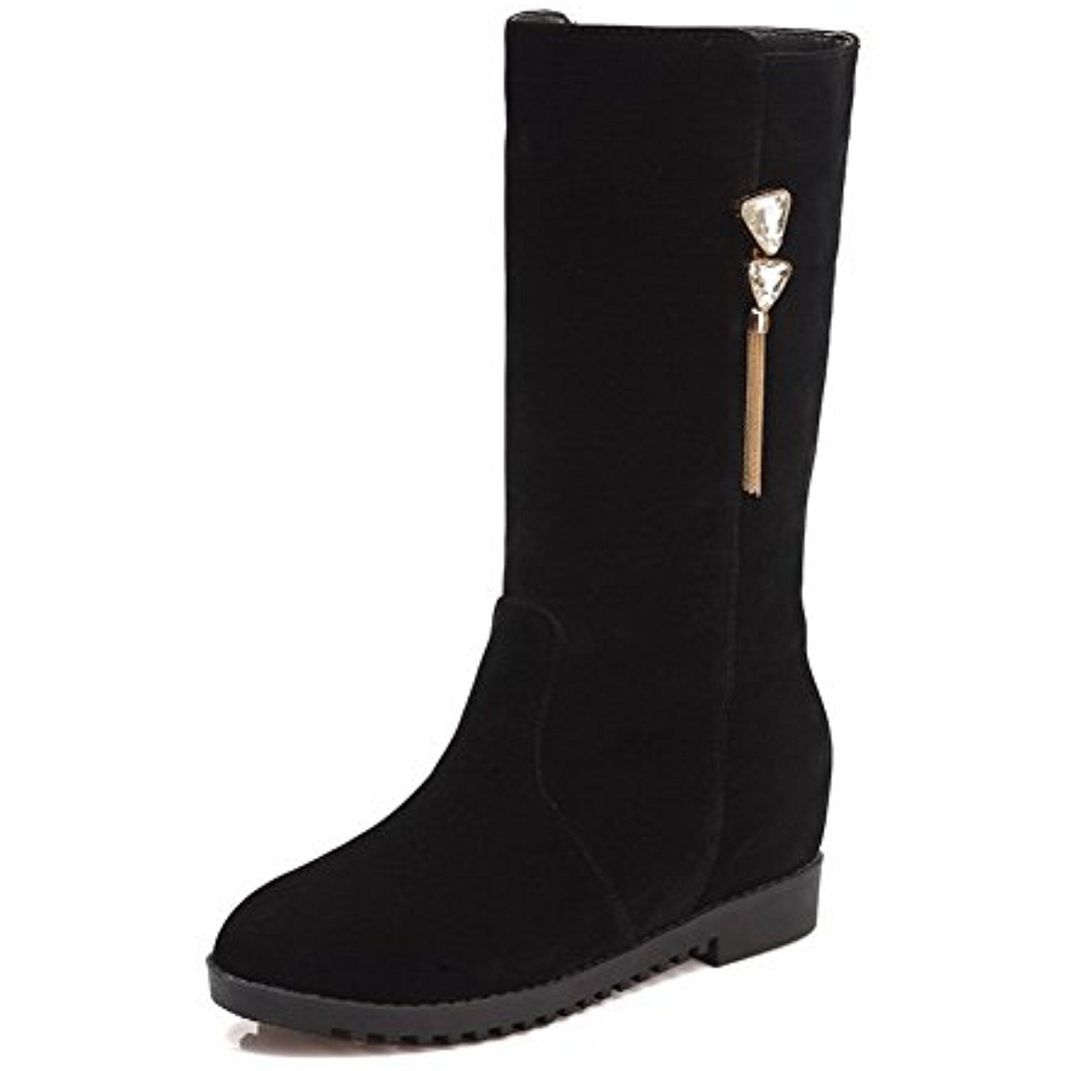 Women S Frosted Round Closed Toe Solid Mid Top Kitten Heels Boots Details Can Be Found By Clicking On The Image Kitten Heel Boots Kitten Heels Over The Knee