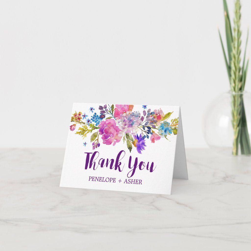 Purple Pink and Blue Flowers Wedding Thank You #purpleweddingflowers