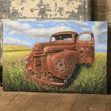 Extra Large Hand Painted Oil On Canvas - Truck/ Antique Farmhouse