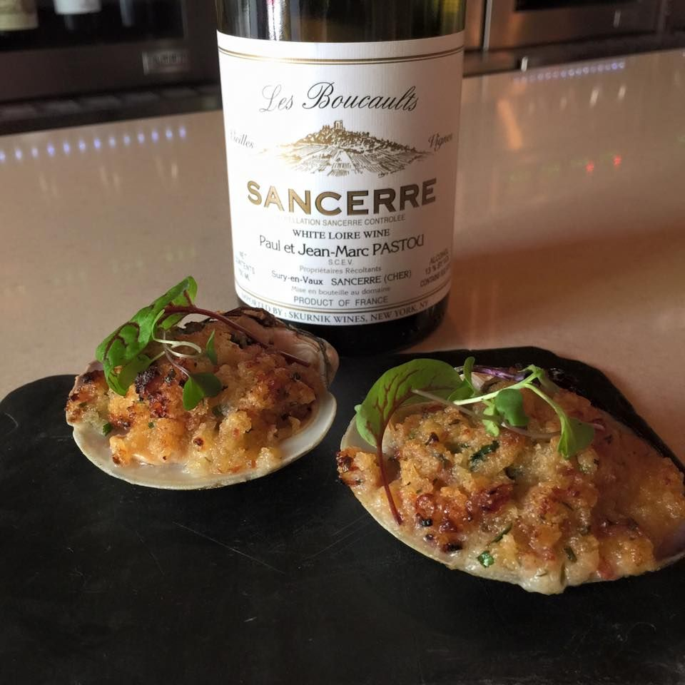 Chorizo and onion stuffed Cherrystone clams with a glass of Jean-Marc Pastou Sancerre