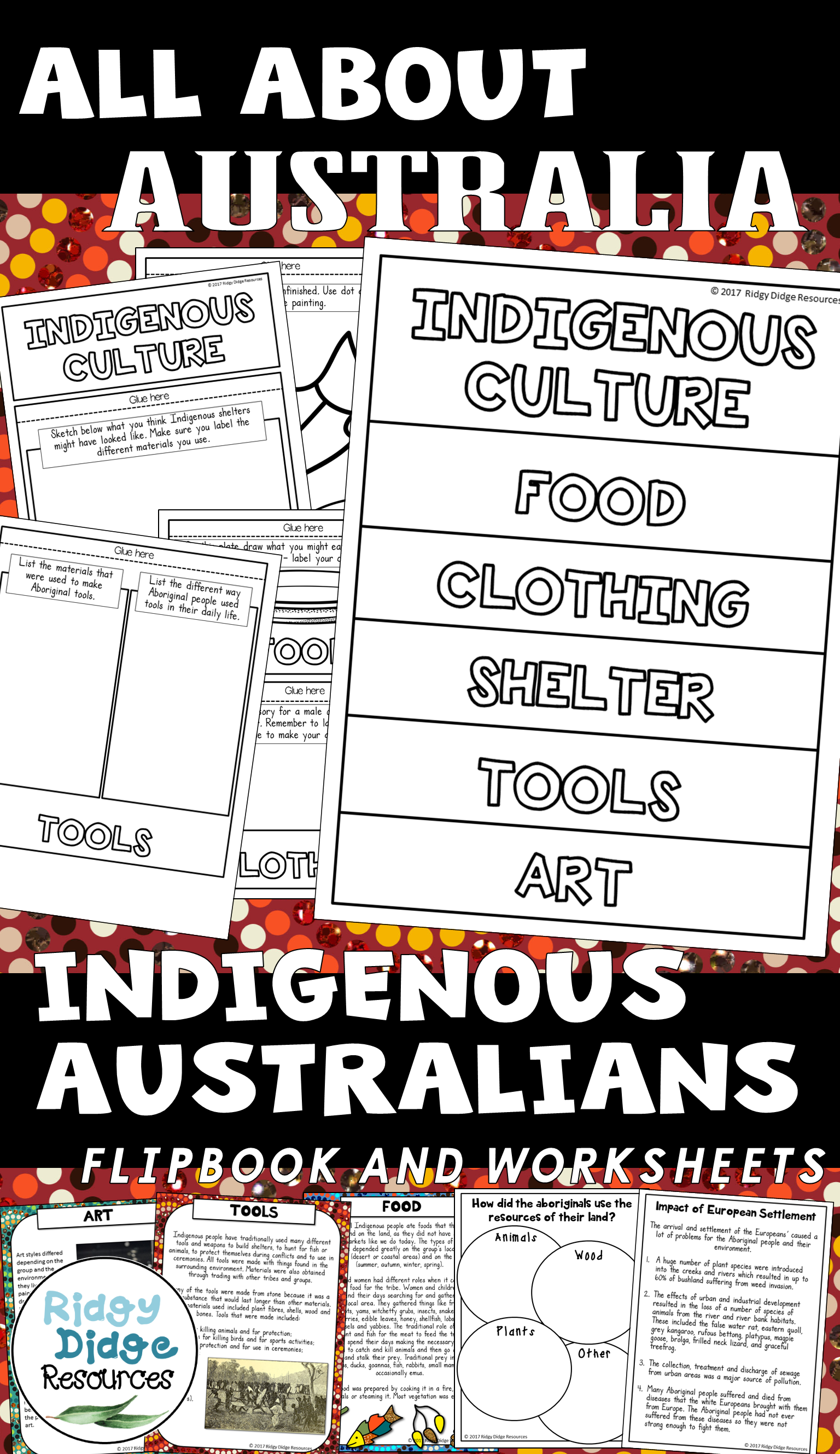 Indigenous Australians Flipbook Worksheets Information
