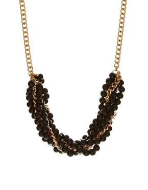 French Connection multi row twisted chain and bead necklace