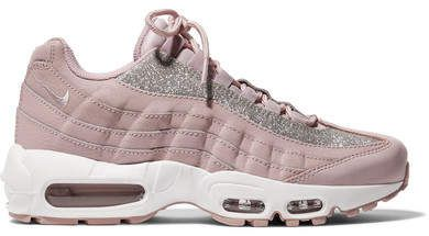 Air Max 95 Glittered Leather And Suede Sneakers in Pastel Pink